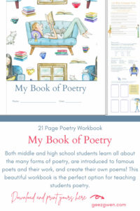 Printable Poetry Workbook for students