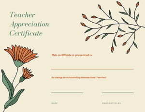 Homeschool Teacher Appreciation Certificate Color