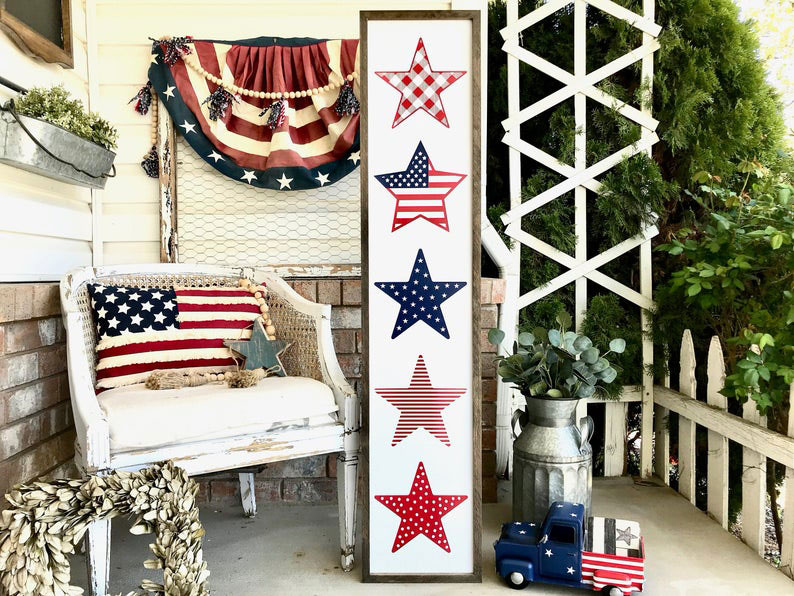 Red White and Blue Stars Porch Sign Memorial Day and 4th of July Patriotic Decor
