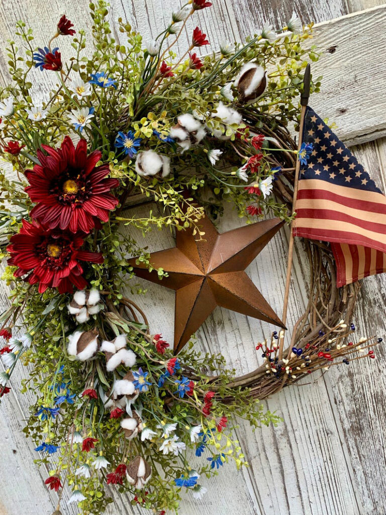 Americana Wreath for Memorial Day, Fourth of July, and Veterans Day