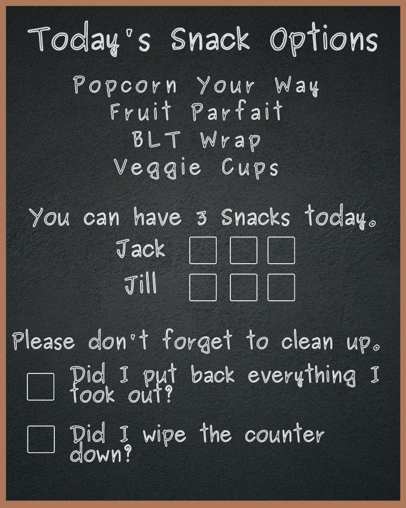 Kids Snack Chart - Kitchen Chalkboard with Kids Snack Ideas and Kitchen Rules