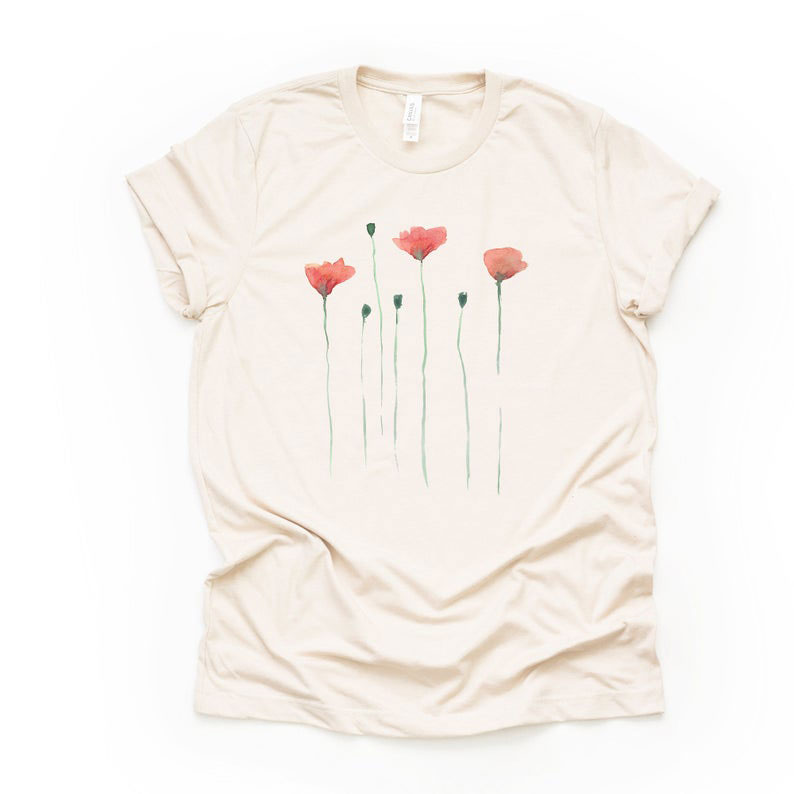 Watercolor Poppy Shirt Perfect for Memorial Day